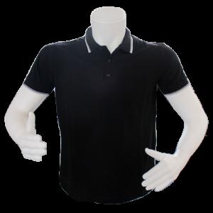 siyah polo yaka detaylı t-shirt